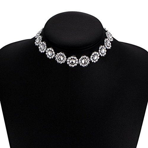Botrong Lady Diamante Choker Necklace Rhinestone Silver Crystal Party Bridal Necklace (Pearl Purple Jade Necklace)