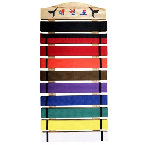 10 Belt Display Rack with Wood Frame
