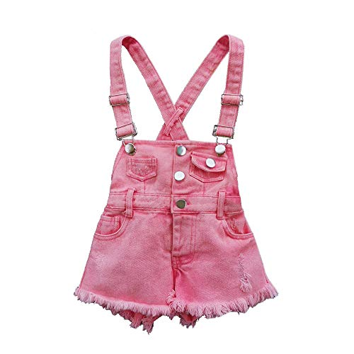 Summer Little Girls Cotton Red Denim Bib Braces Rompers(9T)