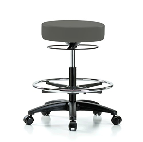 Perch Stella Rolling Adjustable Stool with Footring Medical Salon Spa Massage Tattoo Office 21'' - 28.5'' (Hard Floor Casters/Charcoal Vinyl) by Perch Chairs & Stools