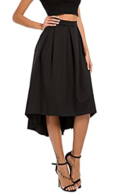 Justalwart Women's High Waist Swing Skirt Ruffle Frill Mini Skirt Loose Dress