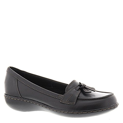 Clarks Leather Tie - CLARKS Women's, Ashland Bubble Slip On Loafers Black 9 WW