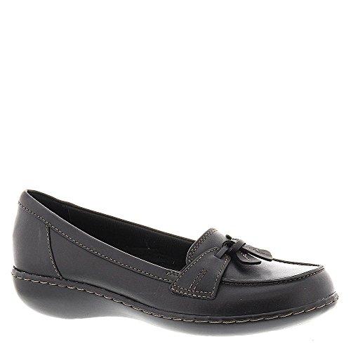 Clarks Leather Tie - CLARKS Women's, Ashland Bubble Slip On Loafers Black 9 WW
