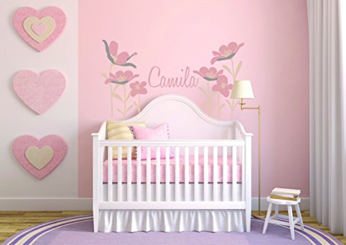Personalized Name Flowers - Girl Baby - Wall Decal Nursery For Home Bedroom Children (Wide 35