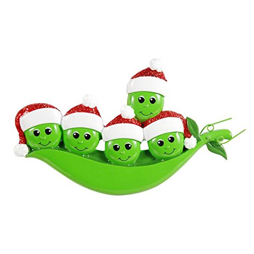 (New Peapod Family of 5 Personalized Christmas Ornament)