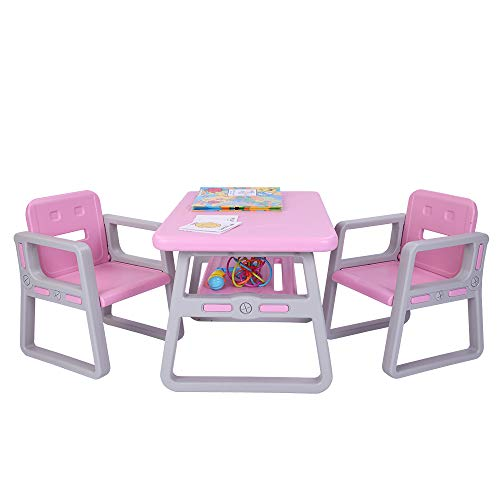- NYF Little Kid Children Furniture Accessories (2 Childrens Seats with 1 Tables Sets),Kids Table and Chairs Set - Toddler Activity Chair Best for Toddlers Lego, Reading, Train, Art Playroom Pink