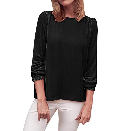 Women's Casual Petal Long Sleeve Solid Blouse Suede Shirt Tops