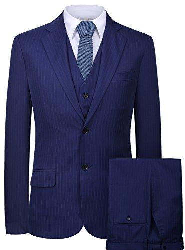 CMDC Men's 3 Pieces Business Suits Slim Fit Stripe Blazer Jacket Vest Pants Set SI137 (Blue,40)