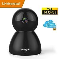 Wireless WIFI Kamera, Zeetopin 1080p HD Überwachungskamera Sicherheits Bewachungssystem mit Bewegungsdetektor, 2 Wege Audio System und optionalem Cloud Speicher, Ideal als Baby Camera / Nanny Cam oder für Haustiere