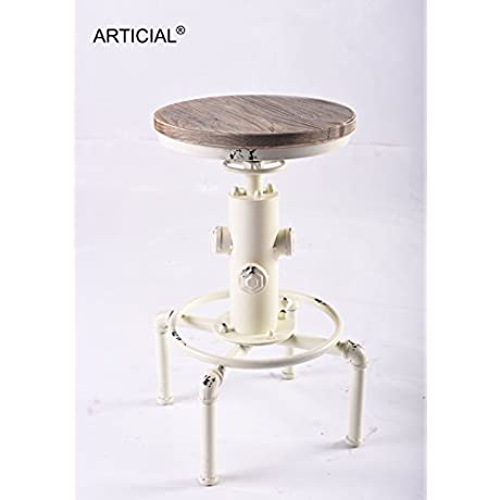 Industrial Vintage Adjustable Swivel Pinewood Metal Stool Fire Hydrant Design White