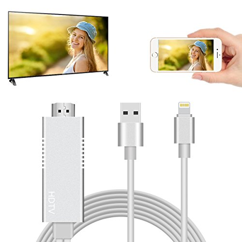 SOELAND Lightning MHL to HDMI Cable Adapter 6.5ft 1080P HDMI Video Connector Compatible for iPhone TV Projector Monitor Pad -White by RGUSEN