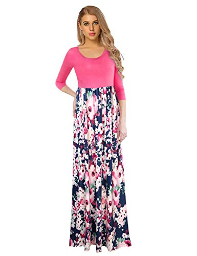 GloryStar Women's Maxi Dress Floral Printed Autumn 3/4 Sleeve Casual Tunic Long Wrap Dress Pink L - Floral Printed Jersey Dress