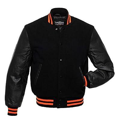 C115 Black Wool Black Leather Varsity Jacket Letterman Jacket