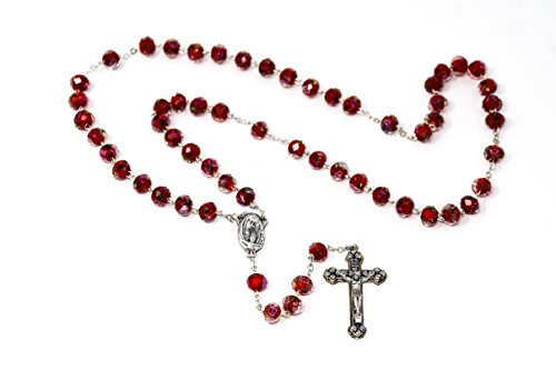 DIRECT FROM LOURDES Scapular Crystal Rosary Beads, Our Lady Mount Carmel & Sacred Heart of Jesus Junction Medal & Lourdes Prayer Card & Lourdes Prayer Card