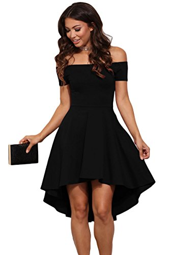 Lalagen Women's Off Shoulder High Low Pleated Cocktail Party Skater Midi Dress