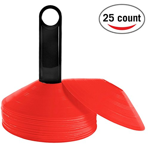 Reehut (Set of 25) Agility Disc Cone with FREE USER E-BOOK & Plastic Holder - Perfect For Soccer, Football & Any Ball Game To Mark - Disc Mini Training Cones - Field Markers - (Outdoor Obstacle Markers)