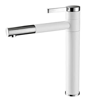 Tall Vessel Sink Faucet.Owofan Contemporary Bathroom Sink Faucet With Rotating Spout 11 8 Inch Tall Vessel Sink Faucet Chrome White Wf 701b