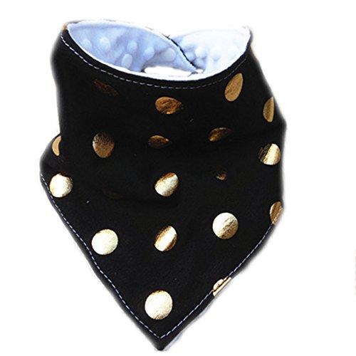 Amyster Handmade Baby Bandana Drool Bibs for Drooling (Polka Dot Black Gold)