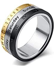 Steel Rotatable Faith Date Rings For Men 9US