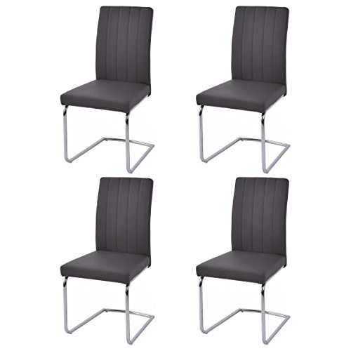 Giantex Set Of 4 PU Leather Dining Chairs High Back Elegant Design Home Furniture (4Gray) by Giantex