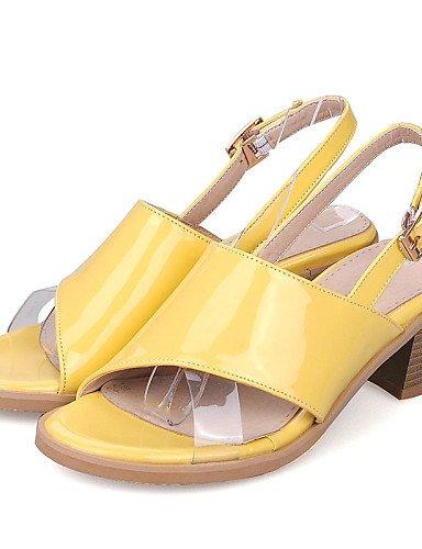 LFNLYX Zapatos de mujer-Tacón Robusto-Talón Descubierto / Punta Abierta-Sandalias-Vestido / Casual-Cuero Patentado-Amarillo / Rosa / Blanco / Pink