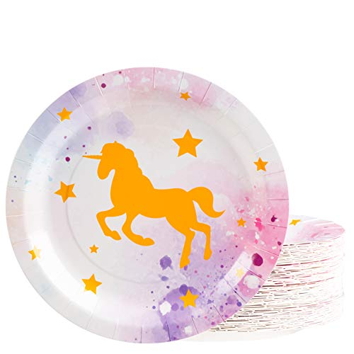Unicorn Plates - 80-Pack Disposable 9-Inch Round Plates for Cake, Appetizer, Lunch, Dessert, Unicorn Themed Birthday, Baby Shower Party Supplies, Unicorn Sparkle Design