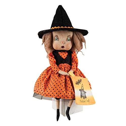 Holiday Decor Felicity Witch Girl Fabric Hand Painted Figurine with Intricate Detailing -