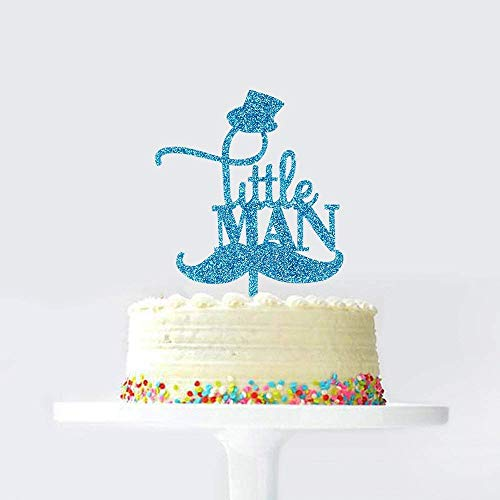 KISKISTONITE Blue Glitter Cake Toppers, Little Man with Hat Mustache Design, Funny Baby Boy Birthday, Party Decoration Supplies -
