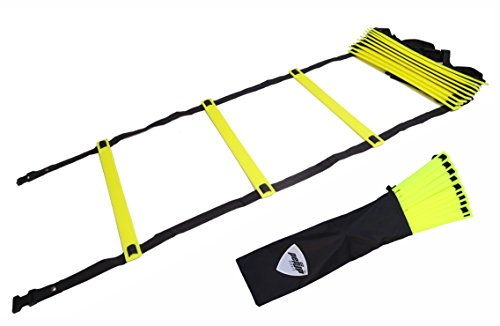 Pepup Sports Super Flat 10 Rungs Adjustable Speed Agility Ladder with Free Carry Bag, 13