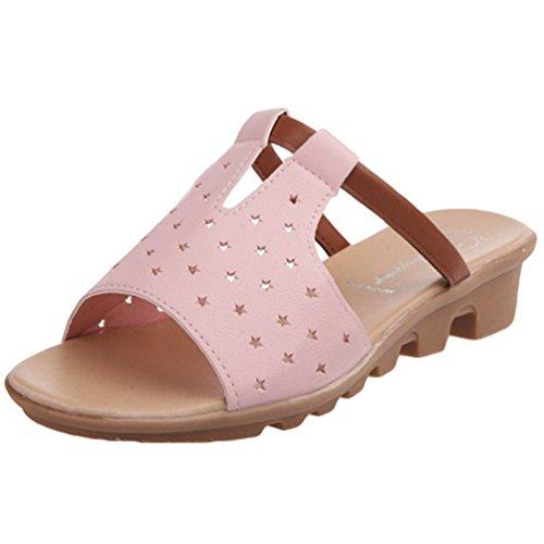 Sentao Mujeres Verano Casual Sandalias zapatillas de playa Tacón De Cuña Chancletas Pink 2