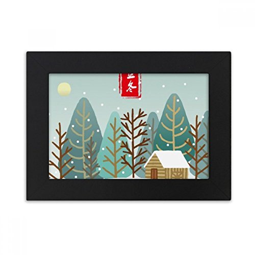 DIYthinker Circular Winter Begins Twenty Four Solar Term Desktop Photo Frame Black Picture Art Painting 5x7 inch by DIYthinker