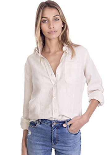 (CAMIXA Women's 100% Linen Casual Shirt Slim Fit Button-Down Airy Basic Blouse XS Sand)