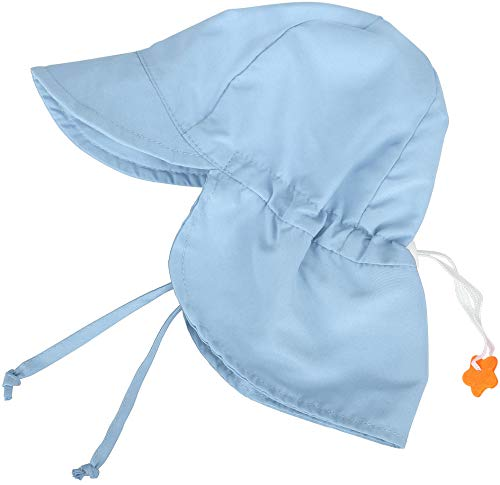SimpliKids UPF 50+ UV Ray Sun Protection Baby Hat w/ Neck Flap & Drawstring,Light Blue,0-12 Months]()