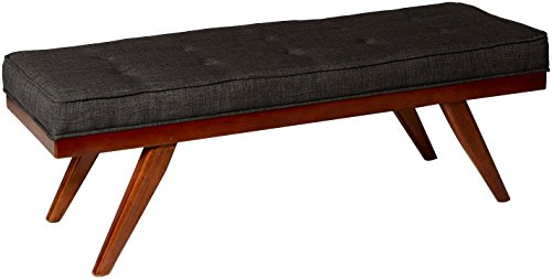 "Homelegance Bingsley 51"" Fabric Seating Bench with Button Tufted Accent, Cherry - Modern Mid-Century style Bench features button tufted seat cushion Gray linen-like fabric to beautifully contrast the wood cherry finished frame Durable hardwood frame and foam padded cushion for long lasting comfort - entryway-furniture-decor, entryway-laundry-room, benches - 41ZyocsqegL -"
