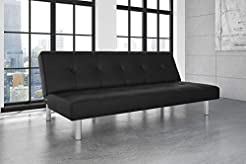 DHP Nola Futon Couch with Tufted Faux Le...