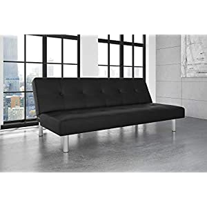 DHP Nola Futon Couch with Tufted Faux Leather Upholstery