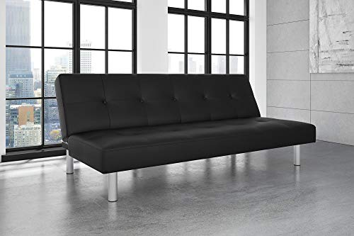 Leather Modern Sets Sofa - DHP Nola Futon Couch with Tufted Faux Leather Upholstery, Modern Style, Black Faux Leather