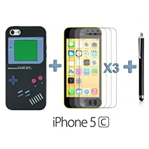 Quaroth OnlineBestDigital - Gameboy Style Silicone Case for Apple iPhone 5C - Black with 3 Screen Protectors and Stylus...