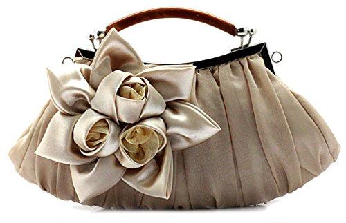 Clutch Bag Apricot - Thenice Women's Silk Flowers Wedding Evening Bags Clutch (apricot)