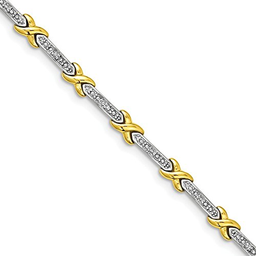 Sonia Jewels Sterling Silver Vermeil Diamond Accent X Bracelet 7