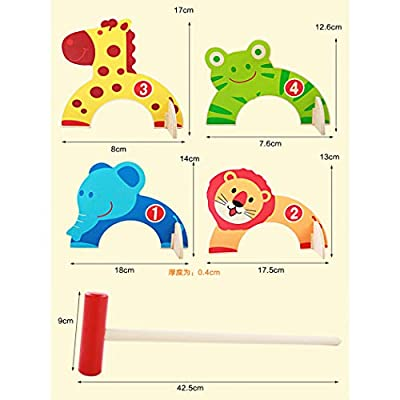 Bageek Kids Croquet Set Wooden Cartoon Animal Golf Toy Interactive Toy for Indoor: Everything Else