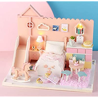LFHT DIY Dollhouse Miniature Kit with LED Light & Furniture, 3D Wooden Miniature House with Dust Cover Pink Pricess Fancy Bedroom Kit Toy Home Decoration: Toys & Games