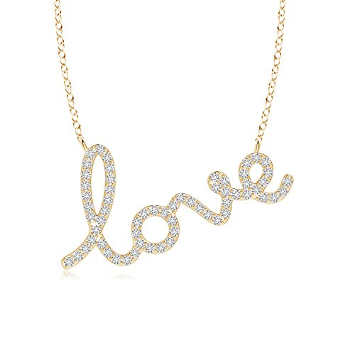 Lab Grown Diamond Cursive LOVE Necklace in 14k Yellow Gold