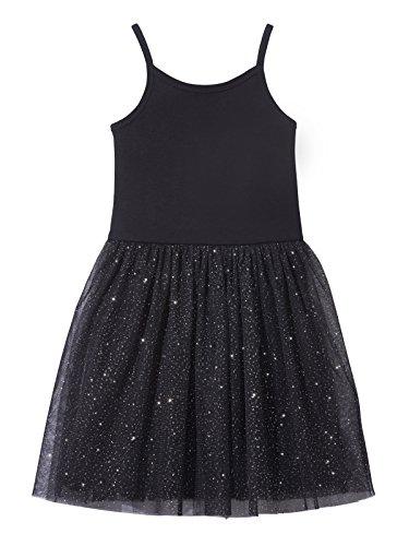 City Threads Girls Princess Ballerina Tutu Dress Sparkle Tulle Bubble Mesh Skirt Sundress Summer Dance Soft Cotton Ballet Party Dress, Black, 5]()