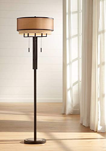 Alamo Modern Floor Lamp Industrial Bronze Sheer Brown Organza and Linen Double Drum Shade for Living Room Reading - Franklin Iron ()