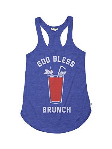 Tipsy Elves God Bless Brunch Sunday Funday Tank Top Shirt (XX-Large) Blue (Party Tank Top God)