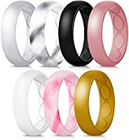 Forthee 7 Pack Breathable Designed Silicone Wedding Ring for Women, 5.7mm Silicone Rubber Band, Durable Weddin