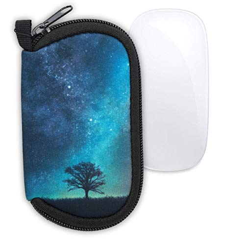 kwmobile Neoprene Pouch Compatible with Apple Magic Mouse 1/2 – Dust Cover with Zip – Cosmic Nature, Blue/Grey/Black
