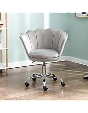 Wahson Fluwelen bureaustoel voor thuis, in hoogte verstelbaar, armloze taakstoel met gouden onderstel, bureaustoel voor slaapkamer/ijdelheid