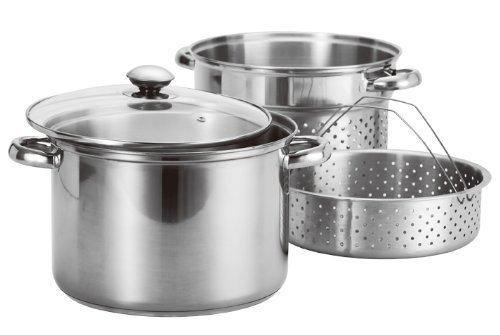 Stainless Steel 4 Pcs Pasta Cooker Set - 8 qt Stock Pot with Steamer Inserts - Pasta Colander Insert